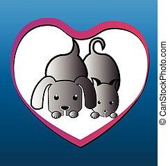 Cat dog love heart background