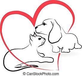 Cat dog love heart logo