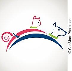 Cat dog silhouettes logo