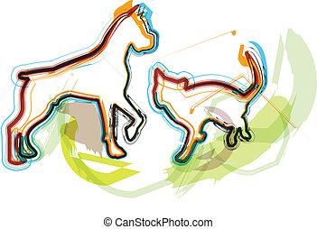 Cat & Dog, vector illustration