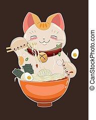 Cat eats ramen noodles with chopsticks. Vector image