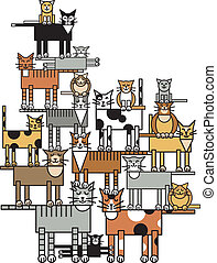 """Vector illustration of a cat family """"tree"""", depicting pet overpopulation. Typestyle is my own design."""