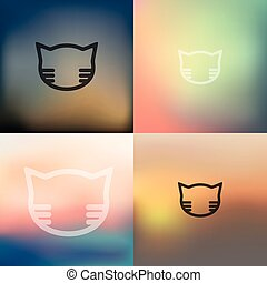 cat icon on blurred background