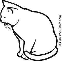 cat (illustration of a white cat)