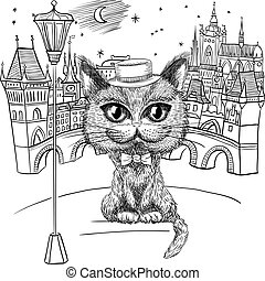 Vector funny British cat hipster in hat and bowtie on the Prague cityscape with Prague Castle and Charles Bridge