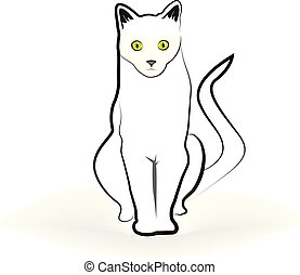 Cat isolated line art vector
