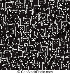 Cat kitten breed doodle Vector Seamless Pattern isolated wallpaper background black