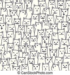 Cat kitten breed doodle Vector Seamless Pattern isolated wallpaper background