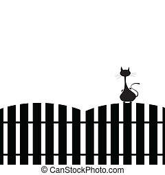 cat on the fence silhouette