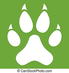 Cat paw icon white isolated on green background. Vector illustration