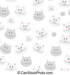 Cat Seamless Pattern Background Vector Illustration