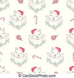 Cat seamless pattern Christmas vector Santa Claus Hat Xmas kitten cartoon isolated tile background repeat wallpaper illustration