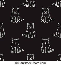 Cat Seamless Pattern kitten scarf isolated wallpaper tile background Happy illustration cartoon doodle