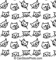 cat seamless pattern kitten vector scarf isolated background repeat wallpaper doodle