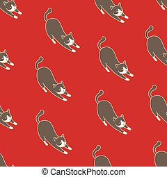 Cat Seamless Pattern kitten vector scarf isolated repeat wallpaper illustration tile background red