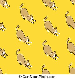 Cat Seamless Pattern kitten vector scarf isolated repeat wallpaper illustration tile background yellow