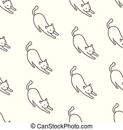 Cat Seamless Pattern kitten vector scarf isolated repeat wallpaper illustration tile background cartoon doodle