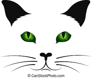 Cat silhouette with green eyes