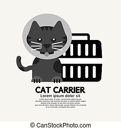 Cat Wearing Cone Collar With Carrier Vector Illustration
