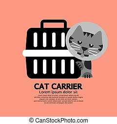 Cat Wearing Cone Collar With Carrier Vector Illustration.
