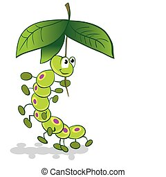 Caterpillar under the umbrella of leaves