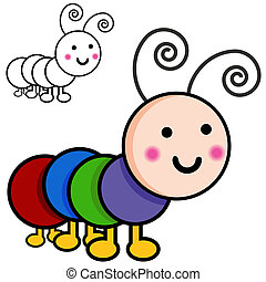 An image of caterpillar cartoon bugs.