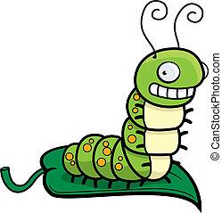 A happy cartoon smiling caterpillar on a leaf.