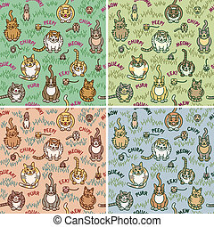 Cute cats and critters seamless pattern in four colorways. Tiles repeat 8 inches. Typestyle is my own creation.