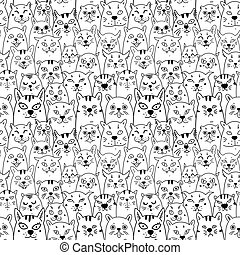 Cats. Cartoon vector seamless wallpaper. Vector illustration on white isolated background. Pattern