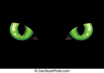 Green Dangerous Wild Cat Eyes, On Black Background, Vector Illustration