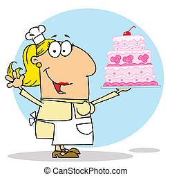 Caucasian Cartoon Cake Maker Woman