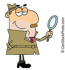 Caucasian Cartoon Detective Man With A Magnifying Glass In Hand