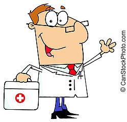 Caucasian Cartoon Doctor Man Carrying His Medical Bag