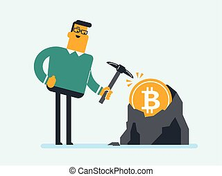 Caucasian man with pickaxe working in bitcoin mine