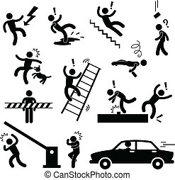 A set of pictogram representing caution, safety, danger, slippery fall, car accident, and many more.