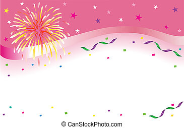 Celebrations and party banner with sparkling fireworks and colorful confetti. Isolated over white background with room for your text. Vector illustration saved as EPS AI 8, no effects, no filters, easy print.