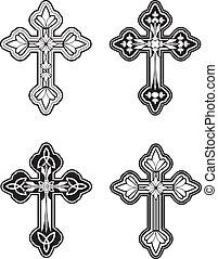 A group of ornate Celtic cross designs.