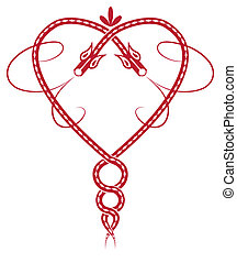 Valentine pattern with celtic dragon like heart