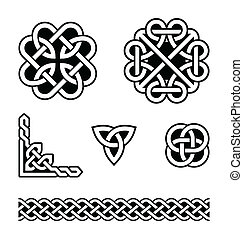 Set od traditional Celtic symbols, knots, braids in black and white