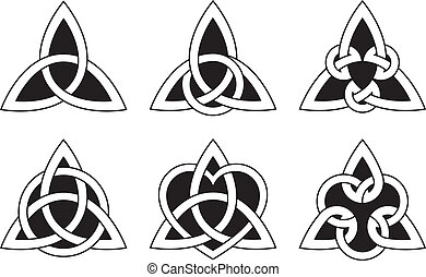 A variety of celtic knots used for decoration or tattoos. Six varieties of endless basket weave knots. These knots are most known for their adaptation for use in the ornamentation of Christian monuments and manuscripts, such as the Book of Kells.