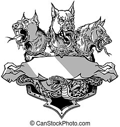 Cerberus and snake Design template grey and white