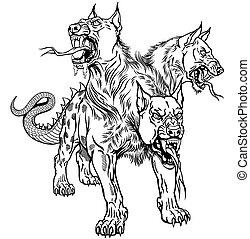 Cerberus Hellhound black and white tattoo