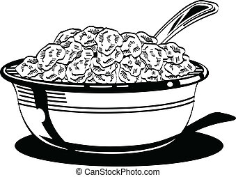 Breakfast cereal bowl with milk and spoon.