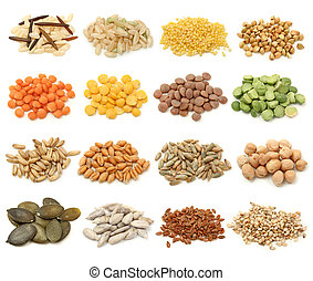 Cereal, grain and seeds collection isolated on white background. Macro shots