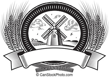 Cereal harvest label in woodcut style. Black and white vector illustration.