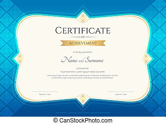Certificate of achievement template in vector with applied Thai art background, blue color