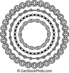 Clip art of various circular chain designs