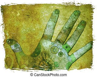 Mixed media illustration of hands with reflexology points