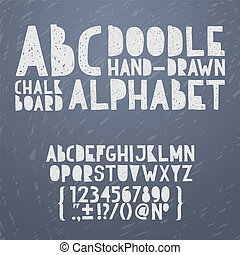 Chalk hand draw doodle abc, alphabet grunge scratch type font vector illustration.