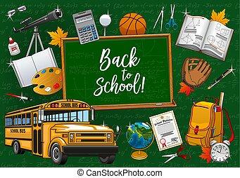 Chalkboard back to school lettering, stationery